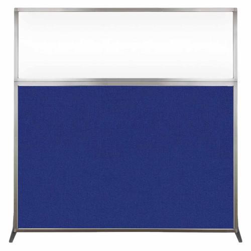 Hush Screen Portable Partition 6' x 6' Royal Blue Fabric Clear Window Without Wheels