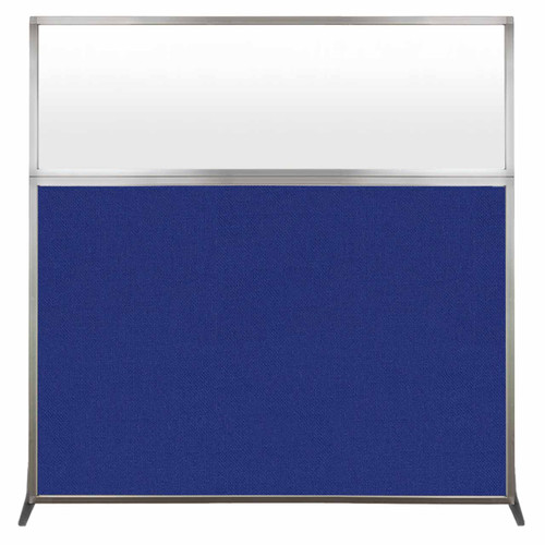 Hush Screen Portable Partition 6' x 6' Royal Blue Fabric Frosted Window Without Wheels