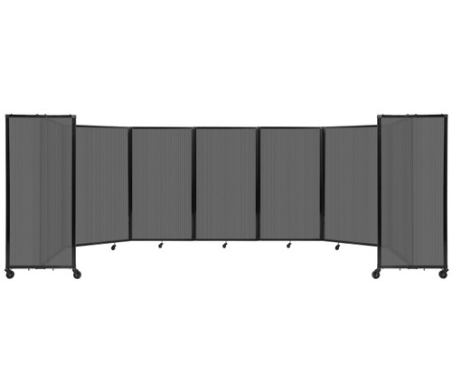 """Room Divider 360 Folding Portable Partition 19'6"""" x 5' Dark Gray Fluted Polycarbonate"""