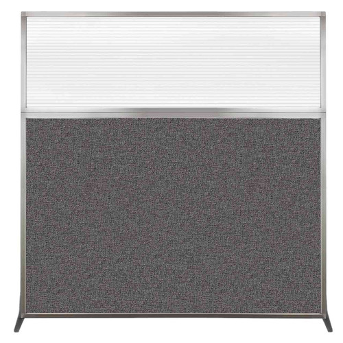 Hush Screen Portable Partition 6' x 6' Charcoal Gray Fabric Clear Fluted Window Without Wheels
