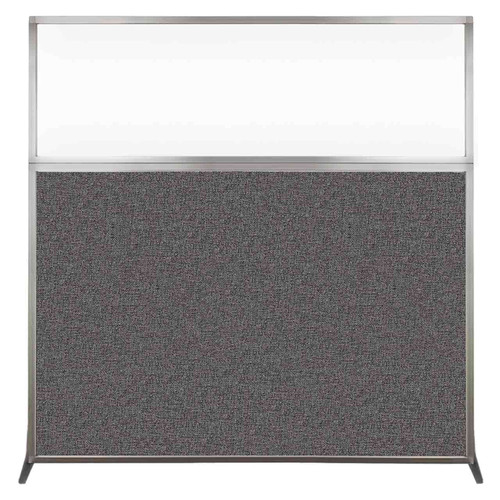 Hush Screen Portable Partition 6' x 6' Charcoal Gray Fabric Clear Window Without Wheels