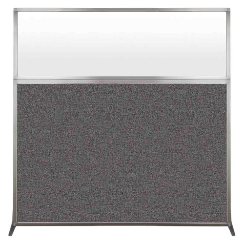 Hush Screen Portable Partition 6' x 6' Charcoal Gray Fabric Frosted Window Without Wheels