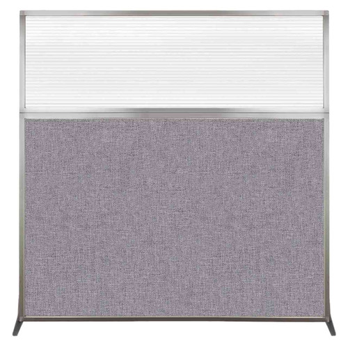 Hush Screen Portable Partition 6' x 6' Cloud Gray Fabric Clear Fluted Window Without Wheels