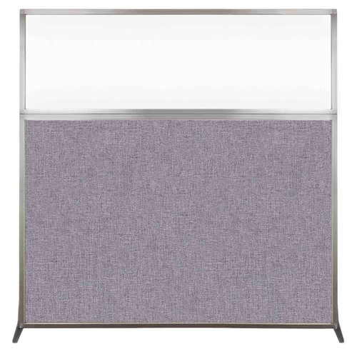 Hush Screen Portable Partition 6' x 6' Cloud Gray Fabric Clear Window Without Wheels