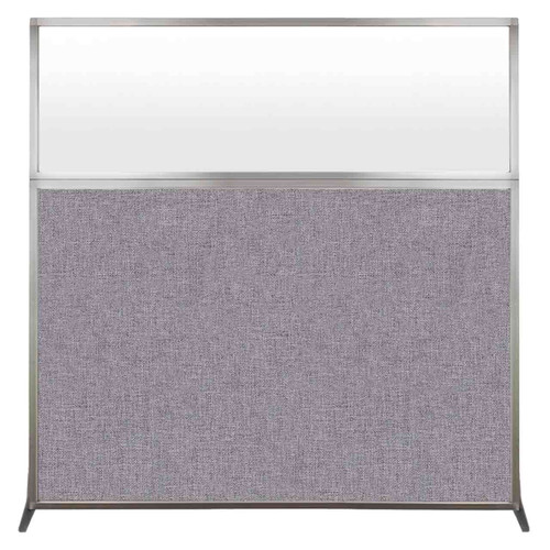 Hush Screen Portable Partition 6' x 6' Cloud Gray Fabric Frosted Window Without Wheels