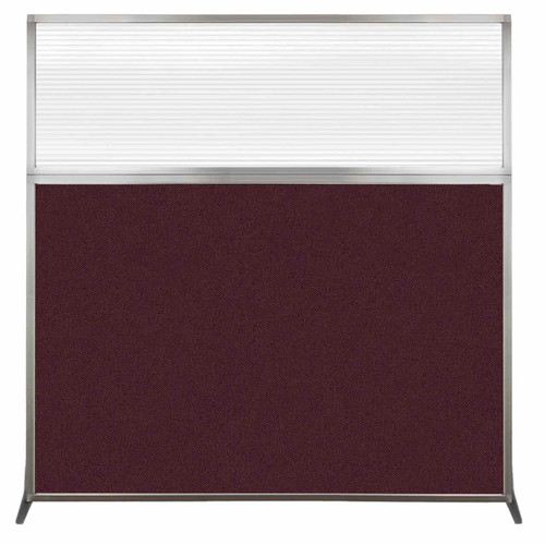 Hush Screen Portable Partition 6' x 6' Cranberry Fabric Clear Fluted Window Without Wheels
