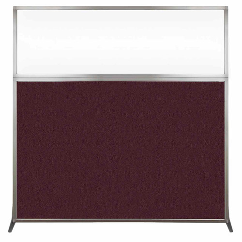 Hush Screen Portable Partition 6' x 6' Cranberry Fabric Clear Window Without Wheels