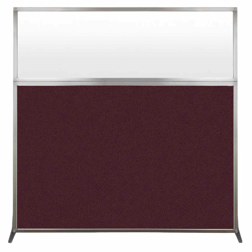 Hush Screen Portable Partition 6' x 6' Cranberry Fabric Frosted Window Without Wheels