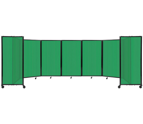 """Room Divider 360 Folding Portable Partition 19'6"""" x 5' Green Fluted Polycarbonate"""