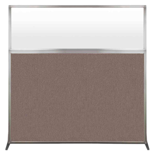 Hush Screen Portable Partition 6' x 6' Latte Fabric Frosted Window Without Wheels