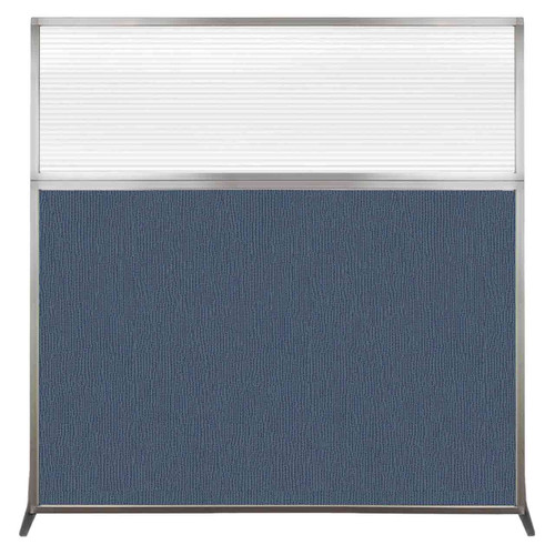 Hush Screen Portable Partition 6' x 6' Ocean Fabric Clear Fluted Window Without Wheels