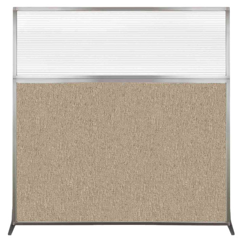 Hush Screen Portable Partition 6' x 6' Rye Fabric Clear Fluted Window Without Wheels
