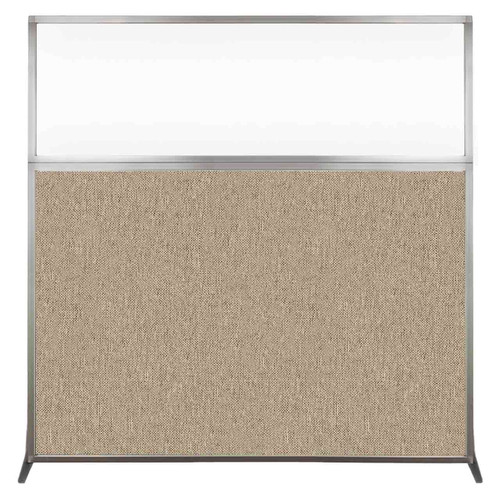 Hush Screen Portable Partition 6' x 6' Rye Fabric Clear Window Without Wheels