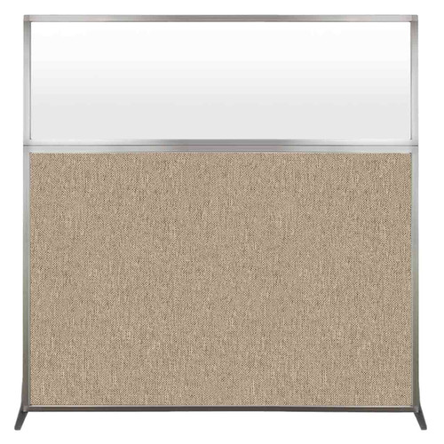 Hush Screen Portable Partition 6' x 6' Rye Fabric Frosted Window Without Wheels