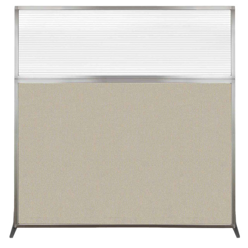 Hush Screen Portable Partition 6' x 6' Sand Fabric Clear Fluted Window Without Wheels