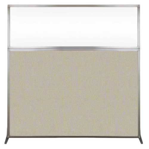 Hush Screen Portable Partition 6' x 6' Sand Fabric Clear Window Without Wheels