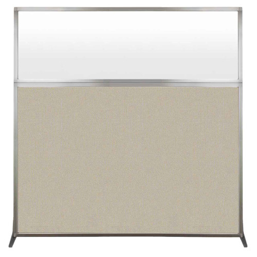 Hush Screen Portable Partition 6' x 6' Sand Fabric Frosted Window Without Wheels