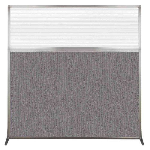 Hush Screen Portable Partition 6' x 6' Slate Fabric Clear Fluted Window Without Wheels