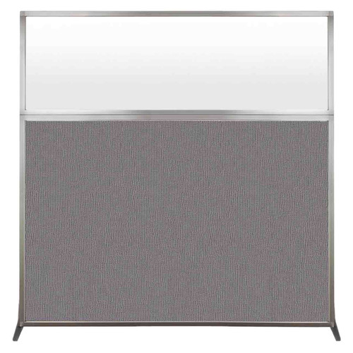 Hush Screen Portable Partition 6' x 6' Slate Fabric Frosted Window Without Wheels