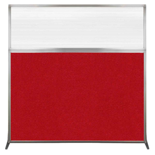 Hush Screen Portable Partition 6' x 6' Red Fabric Clear Fluted Window Without Wheels