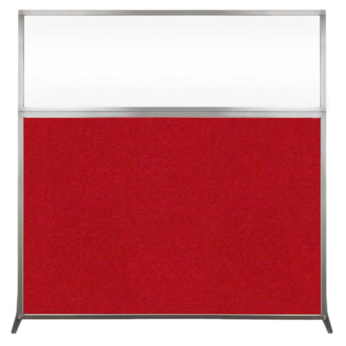 Hush Screen Portable Partition 6' x 6' Red Fabric Clear Window Without Wheels