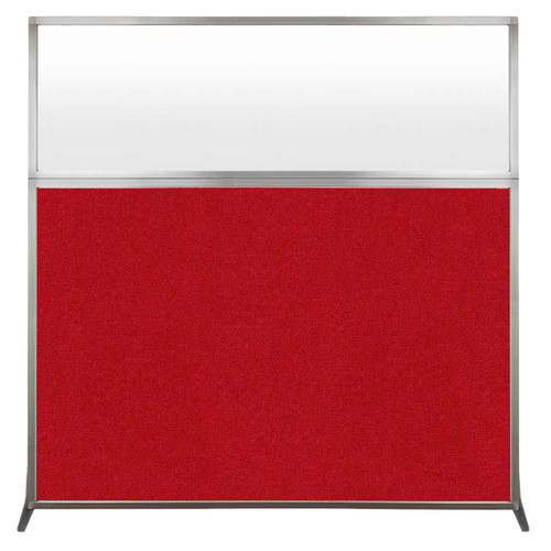 Hush Screen Portable Partition 6' x 6' Red Fabric Frosted Window Without Wheels