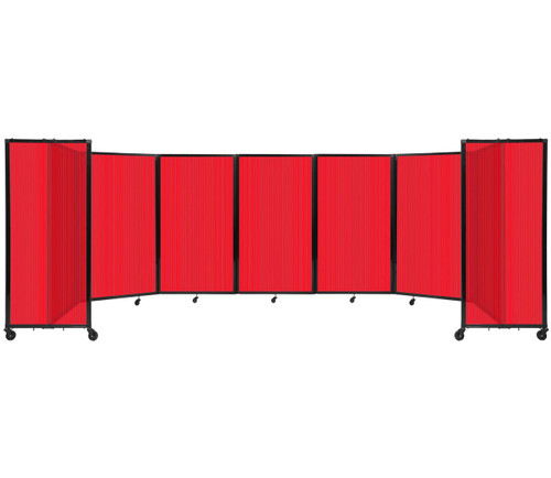 """Room Divider 360 Folding Portable Partition 19'6"""" x 5' Red Fluted Polycarbonate"""