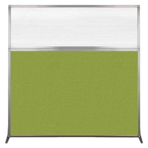 Hush Screen Portable Partition 6' x 6' Lime Green Fabric Clear Fluted Window Without Wheels