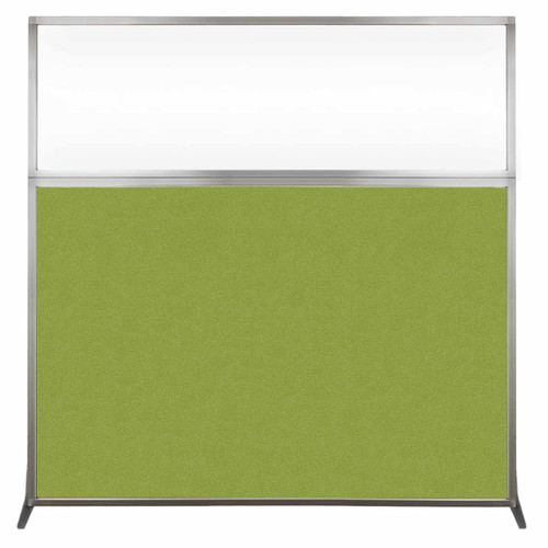 Hush Screen Portable Partition 6' x 6' Lime Green Fabric Clear Window Without Wheels