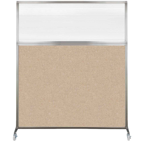 Hush Screen Portable Partition 6' x 6' Beige Fabric Clear Fluted Window With Wheels