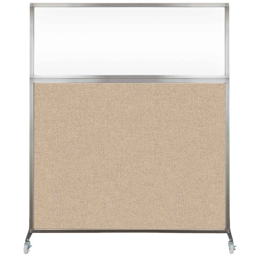 Hush Screen Portable Partition 6' x 6' Beige Fabric Clear Window With Wheels