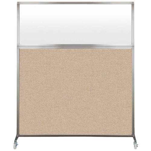 Hush Screen Portable Partition 6' x 6' Beige Fabric Frosted Window With Wheels