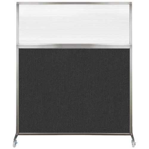 Hush Screen Portable Partition 6' x 6' Black Fabric Clear Fluted Window With Wheels
