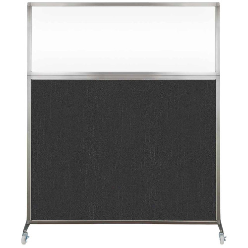 Hush Screen Portable Partition 6' x 6' Black Fabric Clear Window With Wheels