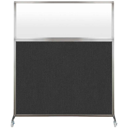 Hush Screen Portable Partition 6' x 6' Black Fabric Frosted Window With Wheels