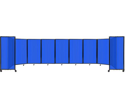 Room Divider 360 Folding Portable Partition 25' x 5' Blue Fluted Polycarbonate
