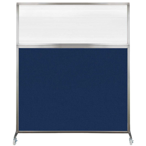 Hush Screen Portable Partition 6' x 6' Navy Blue Fabric Clear Fluted Window With Wheels