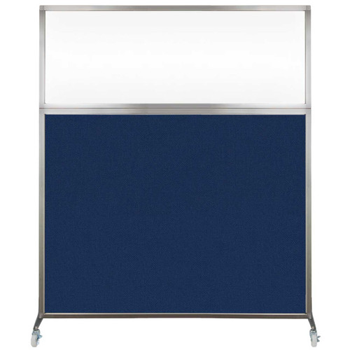 Hush Screen Portable Partition 6' x 6' Navy Blue Fabric Clear Window With Wheels