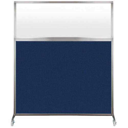 Hush Screen Portable Partition 6' x 6' Navy Blue Fabric Frosted Window With Wheels