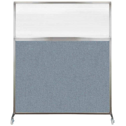Hush Screen Portable Partition 6' x 6' Powder Blue Fabric Clear Fluted Window With Wheels