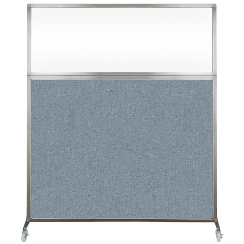 Hush Screen Portable Partition 6' x 6' Powder Blue Fabric Clear Window With Wheels