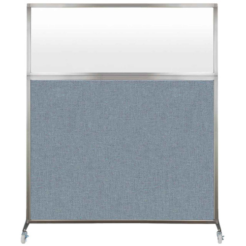 Hush Screen Portable Partition 6' x 6' Powder Blue Fabric Frosted Window With Wheels