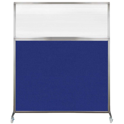 Hush Screen Portable Partition 6' x 6' Royal Blue Fabric Clear Fluted Window With Wheels