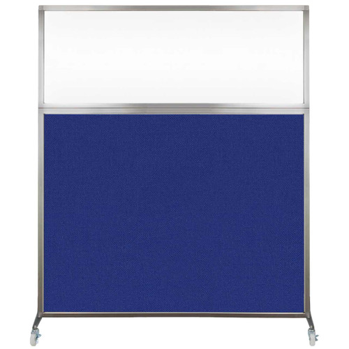 Hush Screen Portable Partition 6' x 6' Royal Blue Fabric Clear Window With Wheels