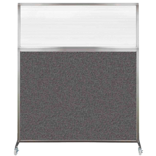 Hush Screen Portable Partition 6' x 6' Charcoal Gray Fabric Clear Fluted Window With Wheels