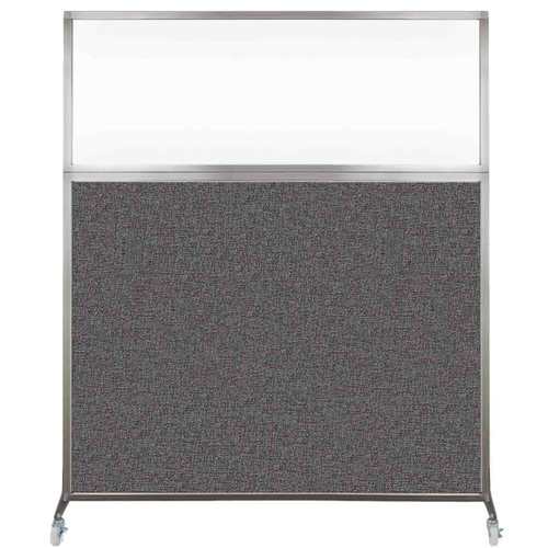 Hush Screen Portable Partition 6' x 6' Charcoal Gray Fabric Clear Window With Wheels