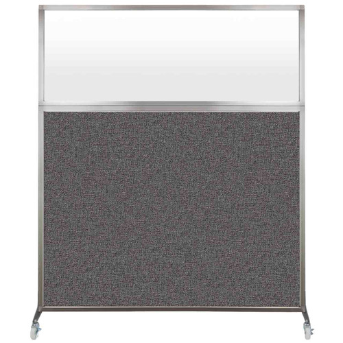 Hush Screen Portable Partition 6' x 6' Charcoal Gray Fabric Frosted Window With Wheels