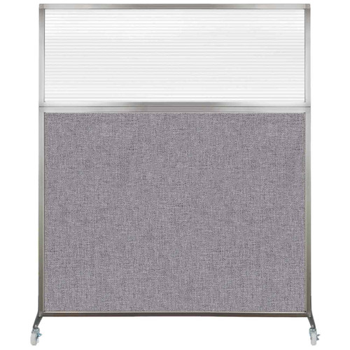 Hush Screen Portable Partition 6' x 6' Cloud Gray Fabric Clear Fluted Window With Wheels