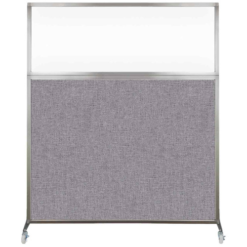 Hush Screen Portable Partition 6' x 6' Cloud Gray Fabric Clear Window With Wheels