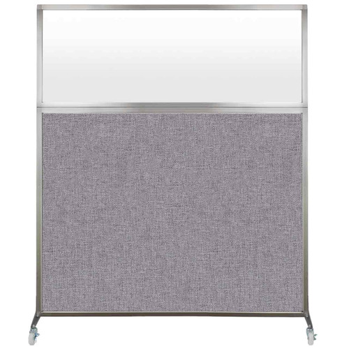 Hush Screen Portable Partition 6' x 6' Cloud Gray Fabric Frosted Window With Wheels